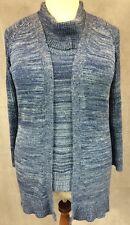 Chicos Sweater Twin Set 3 L XL Cowlneck Shell Open Cardigan Blue Metallic Silver