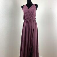 Go Couture Womens Empire Waist Slit Maxi Dress Size Lavender Medium M $168