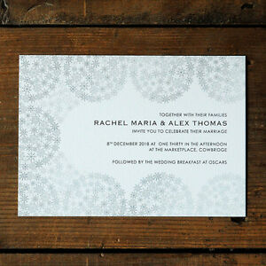 Snowflakes Winter Wedding Invitation - Day Evening RSVP Save the Date Classic