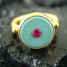Handmade Designer Turquoise And Ruby Ring 22K Gold Over 925K Sterling Silver
