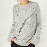 LC Lauren Conrad Grey Cable Knit Ruffle Sweater Size Womens X-Large XL