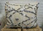 Moroccan Vintage Handira Pillow Berber Wedding Blanket Sequins Handmade Cushion
