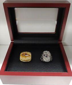 Baltimore Ravens - 2 Super Bowl Ring Set with Wooden Box.. Ray Lewis Joe Flacco
