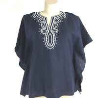 Talbots Med Tunic Top Shirt Linen Navy Blue White Embroider Squares Poncho LN