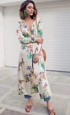 ZARA Champanhe Floral Kimono Coat Dress Size XS Uk 6/8 Silky Look