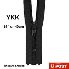 "YKK Nylon # 3 Black Dress Zip/Zipper 40cm or 16"" Closed End"