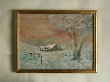 """A FABULOUS OIL PAINTING OF  """"WINTER NEW ENGLAND"""" - SIGNED"""