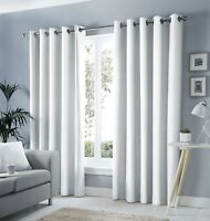 Fusion Sorbonne Semi-Plain Ready Made White 100% Cotton Lined Eyelet Curtains