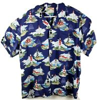 Paradise Found Men XL Hawaiian Aloha Shirt Lighthouses Print Blue Short Sleeve
