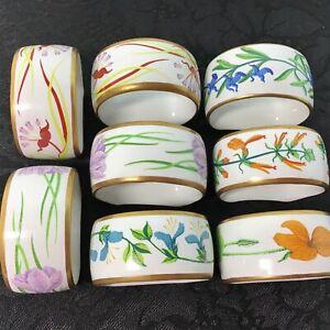 8 Vtg 1978 Porcelain Floral Crescent Napkin Rings Holders, New Cloth Napkins USA