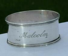 Ovale Argent Sterling serviette Napkin Ring enscribed Malcolm par A.J. Bailey 1961