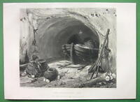 FISHERMAN Cave Boat Nets Anchor  !! SUPERB Antique Print Engraving