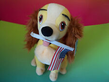 Disney Lady And The Tramp Plush Dog Holding American Flag Sega Stuffed Animal