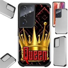 FUSION Case For GALAXY S21 S20 NOTE 20 Hybrid Phone Cover DARK QUEEN CROWN