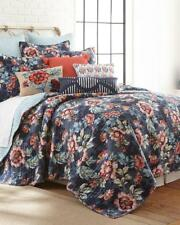 Soft Navy Blue Red Green Reversible Floral Print Luxury Quilt Only King Size