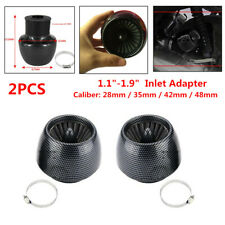 "2PC Carbon Fiber Motorcycle Straight Pipe Air Intake Filter 1.1""-1.9"" In Adapter"