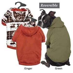 Dog Hoodie Zack & Zoey Forest Friends Reversible Hoodies Green Orange Pet Coat
