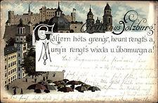Salzburg Österreich AK 1903 Dialekt Text Spruch Regen Regenschirm Kirche Festung