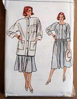 Vintage 80s VOGUE sewing pattern women's DRESS JACKET 8915 12 14 16 M drop waist