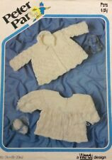 Wendy Peter Pan Baby Matinee Coats 4 Ply KNITTING PATTERN 375 - 18-20""