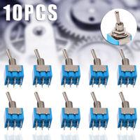 10 Pcs MTS-202 6Pin 2 Position DPDT ON-ON 6A 125V AC Mini Blue Toggle Switch Kit