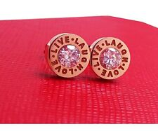 Rose Gold Titanium Round Stainless Steel Love Live Laugh Engraved Stud Earring