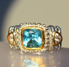 18k Gold plated white and yellow faux blue Aquamrine RING size 7.5