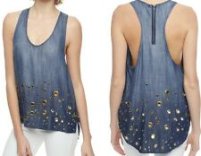 NEW TRUE RELIGION $168 INDIGO OMBRE GROMMET EMBELLISHED TANK TOP TUNIC SZ XS