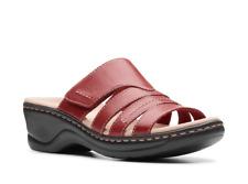 NEW CLARKS Comfort Size 8 Red Leather Adjustable Slides Sandals LEXI Sabrina
