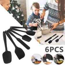 6Pcs Silicone Kitchen Cooking Utensils Set Non-stick Black Spatula Turner,US