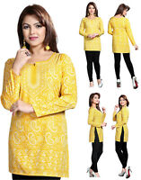 UK STOCK Yellow Women Casual Indian Short Kurti Tunic Kurta Top Shirt Dress 123C