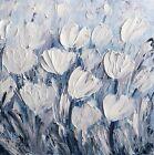Original Flowers Painting TULIPS White Gray Blue Lavender Black Palette Knife