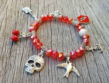 Women's Ladies Punk Rockabilly PinUp 7 CHARM Bling Red Bead Bracelet Jewellery