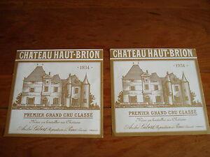 1 Etiquette de Cht HAUT BRION 1934. Superbe etiquette en parfait etat.