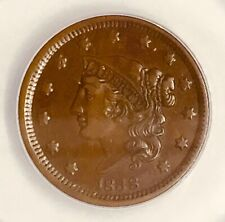 1838 Large Cent Classic Liberty Au50 Authenticated By Anacs 6146905 Us Type Coin