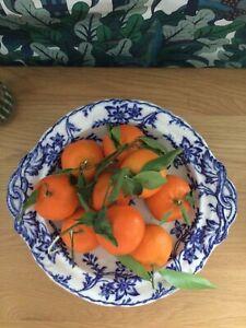 Cottagecore : Vintage Blue White Footed Fruit Bowl Serving Dish Delft Floral