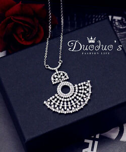 18K White Gold Plated Zircon Sector Pendant Necklace