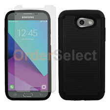 Hybrid Rubber Case+LCD HD Screen Protector for Samsung Galaxy J3 Emerge Black