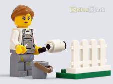 LEGO® City Figur Frau Malerin mit Farbrolle, Farbeimer und Zaun NEU aus 60134