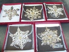 Gorham 1980 1981 1982 1983 and 1984 Sterling Snowflake Christmas Ornaments