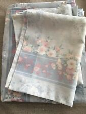 Vintage Thomaston No Iron Queen Flat Sheet Blue Floral With 2 Pillow Cases Used