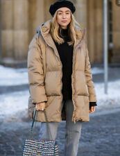 Zara Oversize Down Coat Jacket Water And Wind Protection Camel Size S BNWT