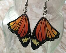 monarch butterfly WING earrings moth bug insect charm orange black yellow DANGLE