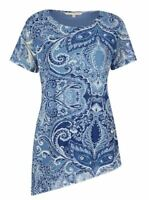 NONI B Top Size 16 18 Blouse RRP$89.95 Short Sleeve Blue Paisley Tunic