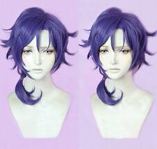 Sanrio Boys Yu Mizuno Short Gray Purple Braid Cosplay Hair Wig + Track + Cap