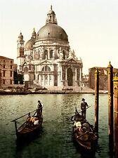 VINTAGE PHOTO COLOUR TINT CHURCH SALUTE VENICE ITALY CANAL GONDOLA PRINT LV4899