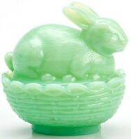 MOSSER GLASS VINTAGE STYLE COLLECTIBLE GLASS BUNNY ON BASKET JADEITE