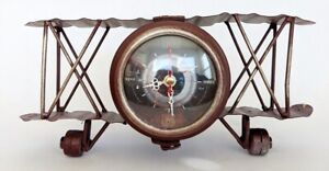 NEW Rustic Red Biplane Clock