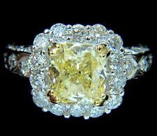 GIA 5.52CT CUSHION NATURAL FANCY YELLOW DIAMOND CLUSTER HALO RING VVS1 $110,000