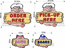 NEW PIG DIECUT SIGNS PICK UP & ORDER HERE RESTROOMS RESTAURANT TAKE 4 SIGNS PORK